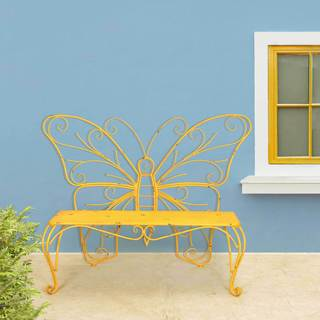 Sunjoy Yellow Iron Butterfly Bench