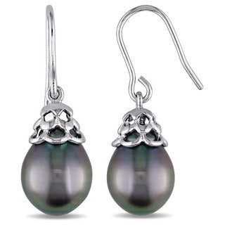 Miadora Sterling Silver Black Tahitian Pearl Shepherd Hook Drop Earrings (9.5-10 mm)