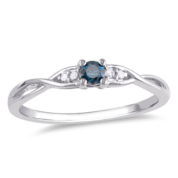 Miadora Sterling Silver 1/7ct TDW Blue and White Diamond 5-stone Infinity Promise Ring
