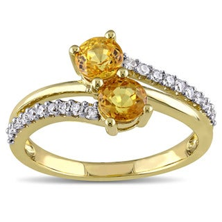 Miadora 10k Yellow Gold Yellow Sapphire and 1/5ct TDW Diamond Duet Bypass Ring (G-H, I2-I3)