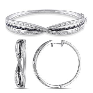 Miadora Sterling Silver 4/5ct TDW Black Diamond 2-piece Infinity Hoop Earrings and Bangle Bracelet Set