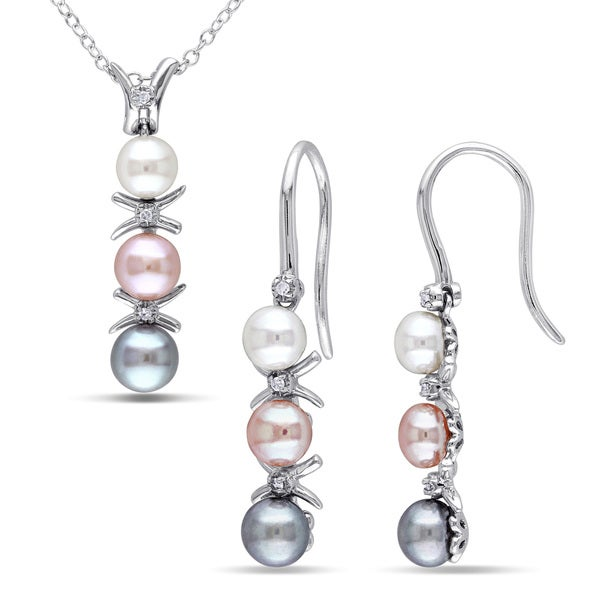 Miadora Sterling Silver Freshwater Grey, Pink and White Pearl and Diamond Accent 2-piece Drop Necklace and Earrings Set (4-6 mm). Opens flyout.