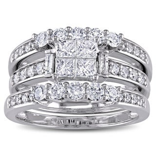 Miadora Signature Collection 14k White Gold 1 1/4ct TDW 3-piece Princess, Baguette and Round-cut Bridal Ring Set (G-H, I1-I2)