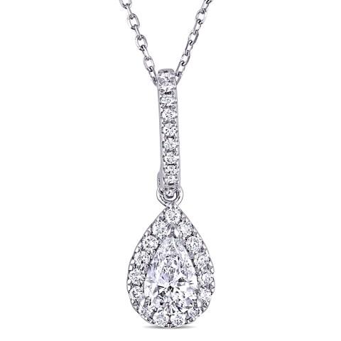 Miadora 14k White Gold 3/4ct TDW Pear-cut Diamond Halo Teardrop Necklace