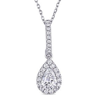 Miadora 14k White Gold 3/4ct TDW Pear-cut Diamond Halo Teardrop Necklace (E-F, SI1-SI2)