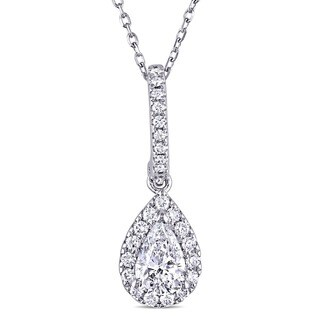 Miadora 14k White Gold 3/4ct TDW Pear-cut Diamond Halo Teardrop Necklace