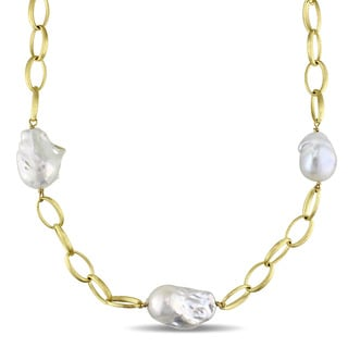 Miadora Signature Collection 14k Yellow Gold Italian Cultured Freshwater Grey Pearl Station Link Necklace (16-18 mm)