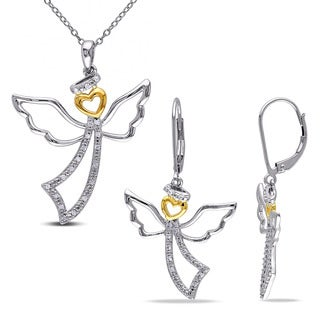 Miadora Two-tone White and Yellow Silver 1/4ct TDW Diamond 2-piece Angel Necklace and Leverback Drop Earrings Set (G-H, I2-I3)