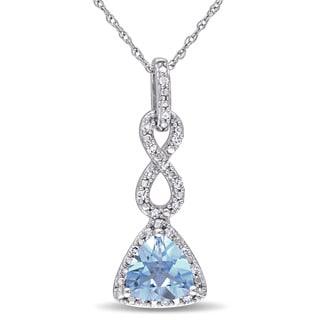 Miadora 10k White Gold Trilliant-cut Blue Topaz and 1/10ct TDW Diamond Drop Infinity Necklace (G-H, I2-I3)
