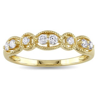 Miadora 14k Yellow Gold 1/4ct TDW Diamond Stackable Vintage Band Ring