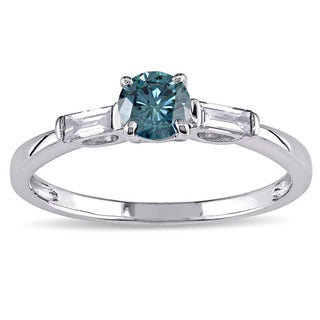 Miadora 10k White Gold 1/2ct TDW Blue and White Round and Baguette-cut Diamond Engagement Ring