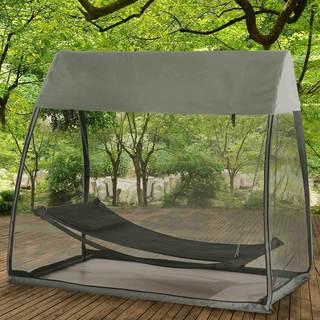 Sunjoy Grey Steel/Nylon 90.5-inch x 56-inch x 80.5-inch Tented Hammock