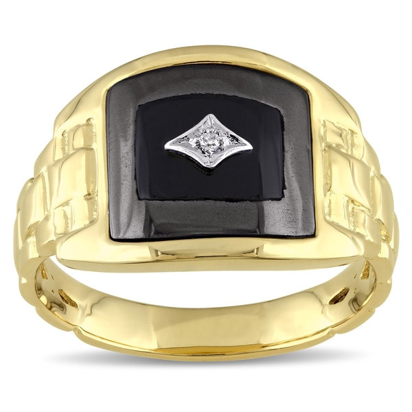Miadora Yellow Plated Silver Black Onyx Hematite and Diamond Accent Men's Ring