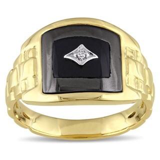Miadora Yellow Plated Silver Black Onyx Hematite and Diamond Accent Men's Ring