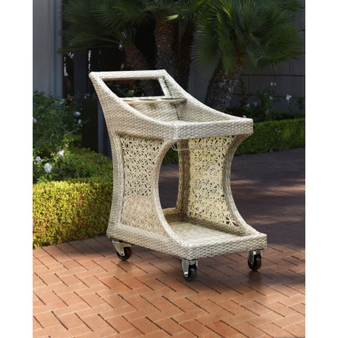 Sunjoy 110210003 Dynasty Taupe Woven Resin 33.5-inch x 21.7-inch x 34.3-inch Serving Trolley