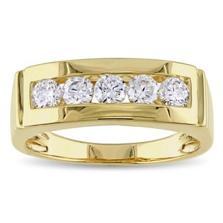 Miadora Yellow Plated Silver Cubic Zirconia Men's Five Stone Ring