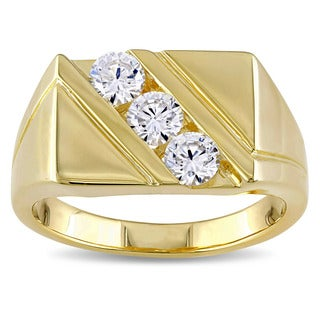 Miadora Yellow Plated Silver Cubic Zirconia Mens Three Stone Ring - White