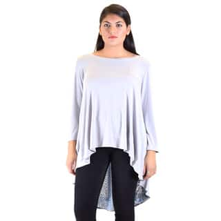 Dinamit Knitted Model Women's White/Grey Polyester Drop Tail Tunic https://ak1.ostkcdn.com/images/products/11882225/P18778684.jpg?impolicy=medium