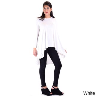 Dinamit Knitted Model Women's White/Grey Polyester Drop Tail Tunic (More options available)