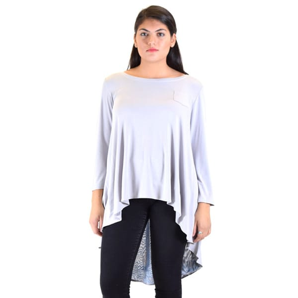 Dinamit Knitted Model Women's White/Grey Polyester Drop Tail Tunic