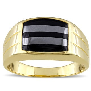 Miadora Yellow Plated Silver Black Onyx and Hematite Men's Ring