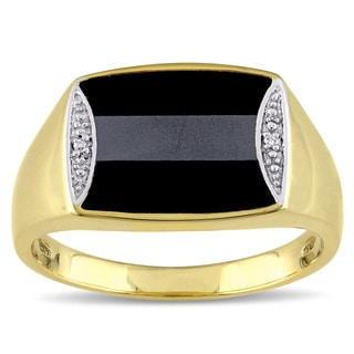 Miadora Yellow Plated Silver Hematite Black Onyx and 1/10ct TDW Diamond Men's Ring (H-I, I2)