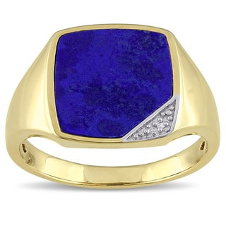 Miadora Yellow Plated Silver Lapis and Diamond Accent Men's Ring