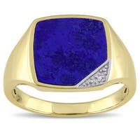 Miadora Yellow Plated Silver Lapis and Diamond Accent Men's Ring - Blue