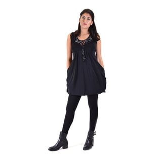 Knitted Jacquard Black Acrylic Women's Round Neck Tunic