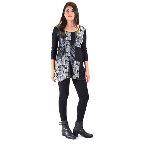 Women's Black Polyester Knitted Jaquard Tunic