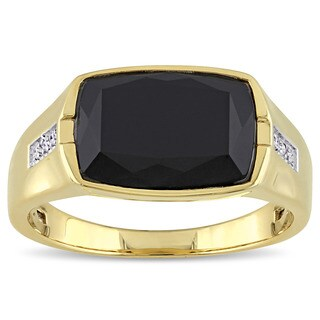 Miadora Yellow Plated Silver Black Onyx and Diamond Accent Mens Ring