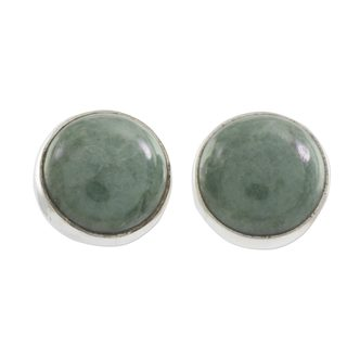 Sterling Silver 'Harmonious Peace' Jade Earrings (Guatemala)