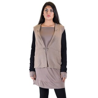 Women's Premise Dress with Attached Boiled-wool Vest and Ribbed Sleeve with Thumb Hole|https://ak1.ostkcdn.com/images/products/11882295/P18779116.jpg?_ostk_perf_=percv&impolicy=medium