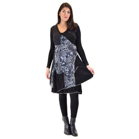 Premise Women's Printed Mesh Pleated Bottom Knee-high Dress