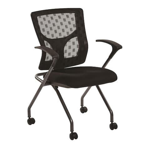 Checkered Mesh Back Folding Chair with Black Frame