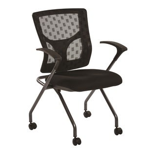 Office Star Products Black Checkered Mesh Back Folding Chair With Coal Free Flex Fabric (Set of 2)