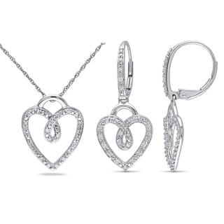 Miadora 10k White Gold 3/8ct TDW Diamond 2-piece Heart Necklace and Leverback Drop Earrings Set (G-H, I2-I3)
