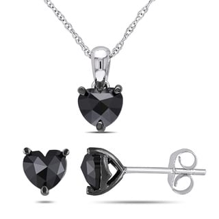Miadora 10k White Gold 1 1/2ct TDW Black Diamonds 2-piece Solitaire Heart Necklace and Stud Earrings Set