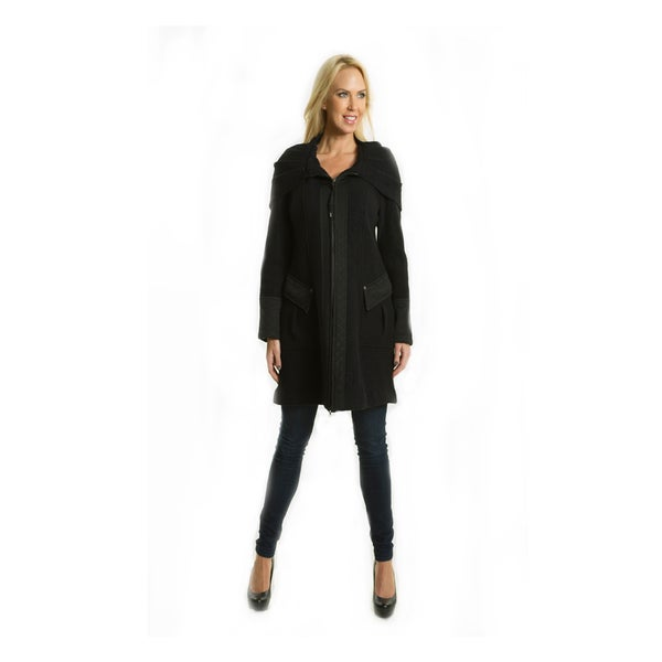 Premise Women's Military-style Long Black Boiled Wool Coat - Free ...