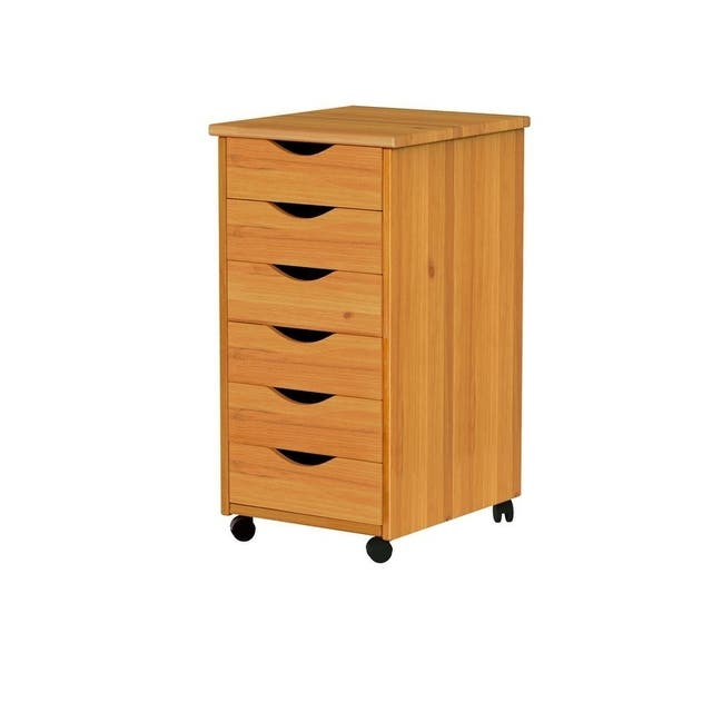 Adeptus Solid Wood 6 Drawer Roll Cart