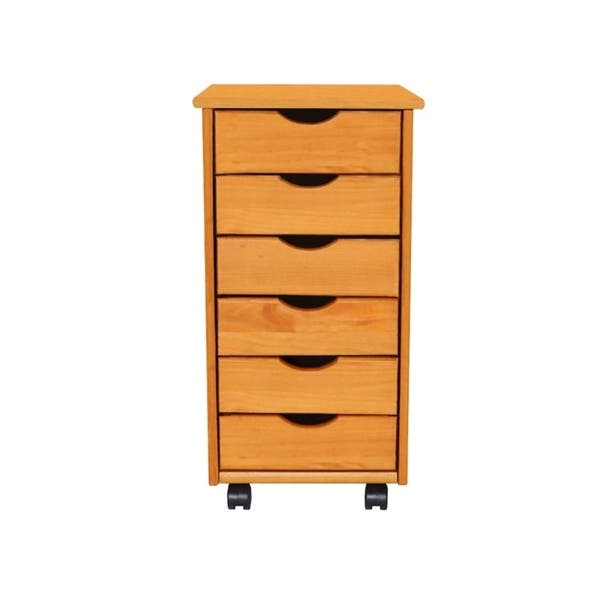 Shop Adeptus Solid Wood 6 Drawer Roll Cart Small Overstock