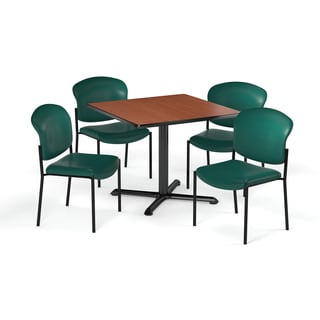 OFM 42 Inch Square Table With 4 Fabric Guest Chairs