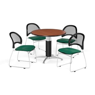 OFM 36-inch Round Laminate Top Table with 4 Moon Chairs