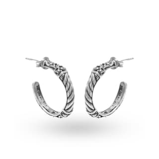 Handcrafted .925 Sterling Silver Bali Hoop Earrings (Indonesia)