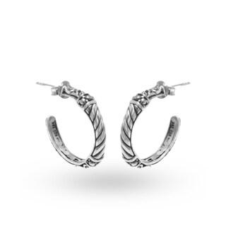 Handmade .925 Sterling Silver Bali Hoop Earrings (Indonesia)
