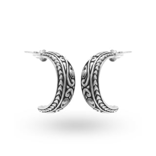 Handmade .925 Sterling Silver Antiqued Bali Hoop Earrings (Indonesia)