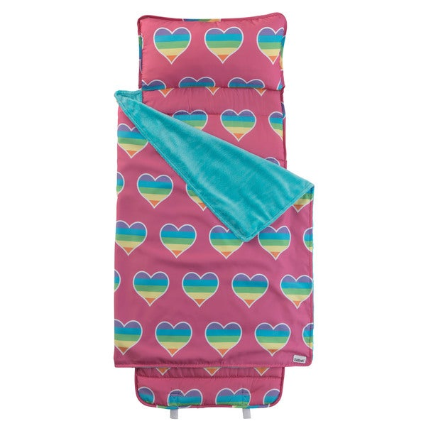 Pink and Turquoise Polyester Rainbow Hearts Nap Mat