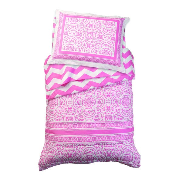 Lace and Chevron Pink 4-piece Toddler Bedding Set