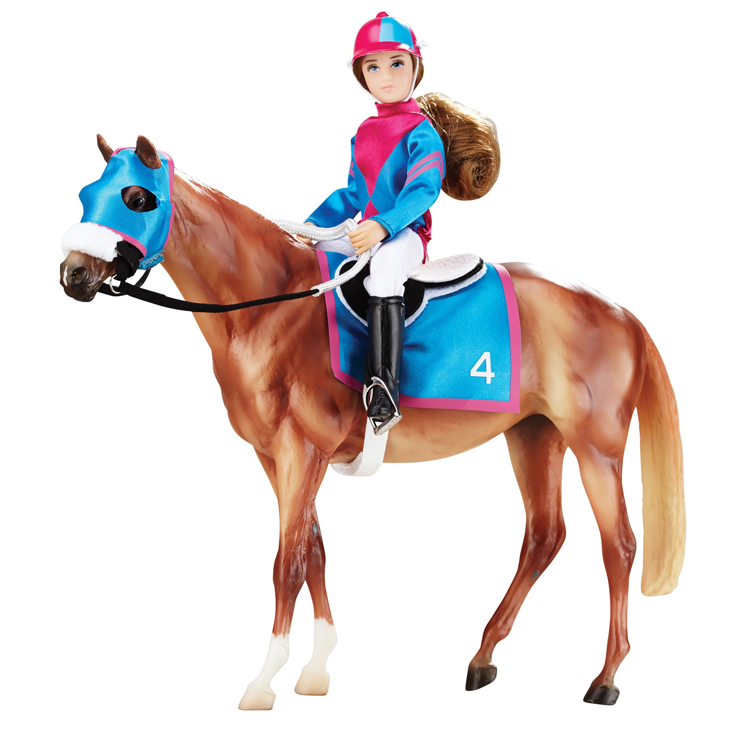 Reeves Breyer Let's Go Racing Plastic Model Horse and Dol...