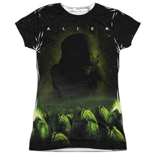 Alien/Ominous (Front/Back Print) Short Sleeve Junior Poly Crew in White